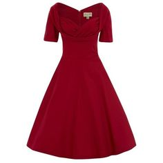 Sloane Red Swing Dress by Lindy Bop ❤ liked on Polyvore featuring dresses, panel dress, rockabilly swing dress, ruched dress, red day dress and red ruched dress