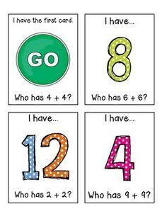 I Have - Who Has Card Game for Doubles Facts Sets: Facts to 20 and Facts to… Math Doubles, Doubles Facts, Math Work, Fun Math, Math Addition, Addition Games, Second Grade Math, Grade 1, Math Centers