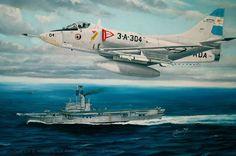A-4 Skyhawk de la Aviación Naval Argentina, sobrevuela el portaaviones ARA 25 de Mayo. Cuadro de Pablo Albornoz. Más en www.elgrancapitan.org/foro