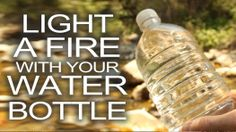 Here's a technique you can use to start a fire for survival if you having nothing but a water bottle & a bright sunny day.