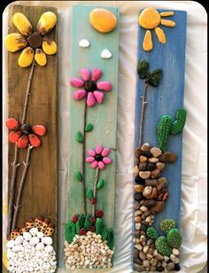 Stone Crafts, Rock Crafts, Diy Home Crafts, Garden Crafts, Crafts For Kids, Arts And Crafts, Art Crafts, Caillou Roche, Wall Collage Decor
