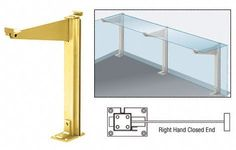 """CRL Brite Gold Anodized 18"""" Right Hand Closed End Partition Post With Shelf Bracket by CR Laurence by C.R. Laurence. $95.85. Attractive and Easy to Install Available in Several Finishes Ideal for Cafeteria Use By using CRL Partition Posts with Shelf Brackets , the top glass shelf can be continuously supported by as many brackets as desired. No strips, plates or bars on top of the glass, therefore, no hole drilling is required and it is not necessary to slice shelve..."""