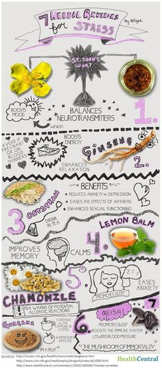 7 Herbal Remedies For Stress Infographic!  Who couldn't use this now and again?  #naturalremedies #stress