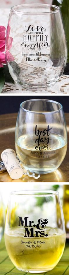 Personalized Stemless Wine Glass #wedding