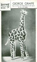 vintage toy knitting pattern giraffe