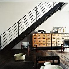 YES. Modern industrial minimalist stair railing, giant card catalogue, deep hued wood flooring, how perfect!