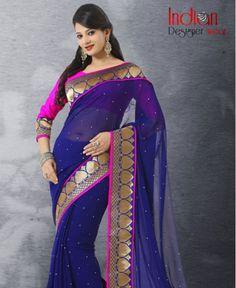 Latest Royal Blue Saree