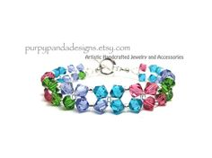 Spring Flower Swarovski Crystal Bracelet  by PurpyPandaDesigns