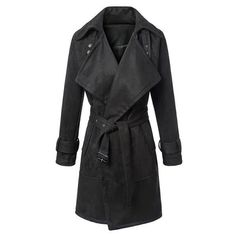 Fashionable Solid Color Turn-Down Collar Belted Thick Velvet Trench Coat For Women