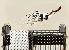 Panda on Blossom Branches Nursery Wall Vinyl by ababywall on Etsy Big Girl Rooms, Baby Boy Rooms, Baby Room, Babies Rooms, Baby Nursery Bedding, Nursery Room, Decoration Creche, Panda Nursery, Baby Time