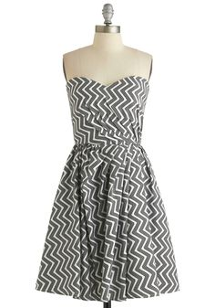 I would wear this with a fun splashy color necklace and bangle durig the day and with a gorgeous, sparkly necklace and earrings at night!   I always check Chippmunk.com first for Modcloth coupons.  $124.99 at Modcloth  Make It Zig Dress, #ModCloth