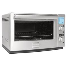 This Frigidaire professional convection toaster oven features 8 preset cooking options and a pro-select LCD display. Included with this toaster oven is a bake pan, a pizza pan and an adjustable cooking rack.