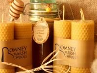 Trio of hand-rolled natural beeswax candles