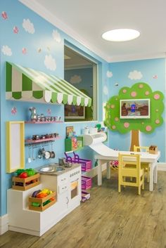 20 Fantastic Kids Playroom Design Ideas – Modern Home Playroom Design, Playroom Decor, Playroom Ideas, Basement Daycare Ideas, Home Daycare Rooms, Daycare Room Design, Basement Play Area, Playroom Layout, Daycare Setup