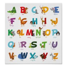 Colorful illustrated Animal Alphabet Letters Poster
