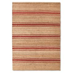 sawyer rug under dining table Neutral with a fresh vibe, this jute striped rug is versatile enough to work with contemporary and traditional home décor. This rectangular rug combines woven jute with a classic stripe pattern for a natural, textured accent. Reinforced edges add to the rugged quality of this sturdy area rug, giving it a look that's made to last.<br>