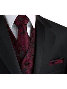 Italian Design, Men's Tuxedo Vest, Tie & Hankie Set in Berry Paisley Red Tuxedo, Formal Tuxedo, Tuxedo Vest, Tuxedo For Men, Formal Vest, Formal Attire For Men, Tuxedo Colors, Formal Prom, Dress Formal
