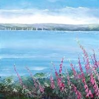 Sails Beyond The Foxgloves by Judi Trevorrow. A true to life view overlooking cliffs in Cornwall. Prints available from Cornwall Art Galleries Coastal Art, Fishing Villages, Cornwall, Sailing, Art Gallery, Watercolor, Canvas, Galleries, Prints