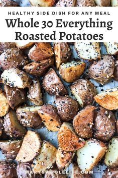 A simple side dish of crispy roasted potatoes coated in everything bagel seasoning. Perfect for breakfast OR dinner. Whole30, gluten free, dairy free, and vegan. #whole30recipes #whole30meals #whole30 #glutenfree #potatoes #everythingbagel #everythingbagelseasoning #sidedishes #whole30sides #easyrecipes Roasted Baby Red Potatoes, Roasted Potato Recipes, Broccoli Recipes, Veggie Recipes, Healthy Recipes, Healthy Food, Veggie Food, Salad Recipes, Healthy Eating
