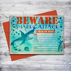 This shark invitation is perfect for any birthday or pool party!  Just download, print, and hand write your event details.  #invitation #partyideas
