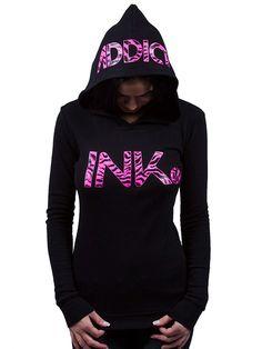"Women's ""Ink"" Thermal Hoodie by InkAddict (Black/Pink Zebra)"