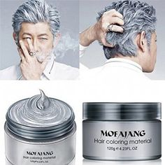 MOFAJANG Hair Color Wax,Instant Silver Grey Hair Wax,Temporary Hairstyle Cream oz, Silvery Grey Hair Pomades, Natural Silver Ash Matte Hairstyle Wax for Men and Women (Ash Matte Grey) Silver Ash Hair, Grey Hair Wax, Hair Color Cream, Temporary Hair Color, Hair Pomade, Hair Dye Colors, Hair Colour, Bright Hair, Colorful Hair