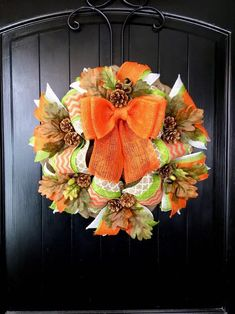 Excited to share this item from my shop: Fall Burlap Wreath, Autumn Wreath, Fall Wreath, Farmh Wreath Fall, Autumn Wreaths, Diy Wreath, Ornament Wreath, Burlap Wreaths, Chevron Ribbon, Orange Chevron, Primitive Wreath, Primitive Autumn