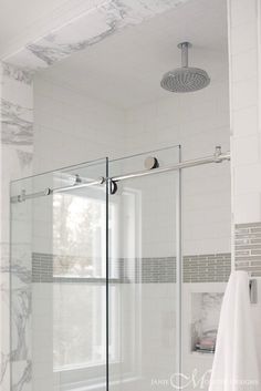 Janie Molster Design - bathrooms - gray and white bathroom, gray and white shower, walk-in shower, walk-in shower enclosure, marble tiled sh...