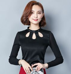2016 Autumn Women's Blouse shirt Blusa Beaded Solid color Mesh Female Tops Plus size Hollow out Women clothing