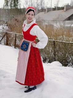 Folk dress from Punkalaidun, Finland Ethnic Outfits, Colourful Outfits, Indian Outfits, Ethnic Clothes, Folk Clothing, Historical Clothing, Ukraine, Types Of Hats, Mexican Outfit