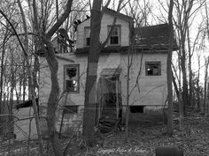 "The Next Step - Picture of the Day: 12/15/14 #2 - ""Hidden Home #3 B+W"" A third image in this series of a deteriorating abandoned house in Orange County, NY."