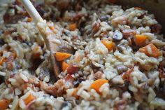 risotto med bacon og sopp
