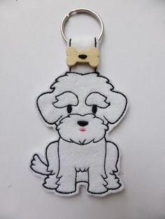 Felt Maltese Terrier Dog Keyring - Free UK Postage £6.00