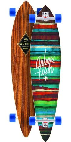 Arbor Fish Koa Longboard Skateboard Complete - 2014 The Arbor Fish Koa is the classic pintail shape for cruising around town. It's a very popular board among beginners because not only is it a classic surfy look and feel, but it's also great to find what kind of riding style you want to get into. Its top mount design makes it extremely easy to learn the basics of longboarding.