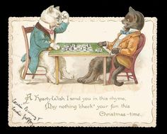 R90 - ANTHROPOMORPHIC CATS PLAYING CHESS - VICTORIAN DIECUT XMAS CARD   Die cut card sold for 185.00 GBP ($241.00 approx US) [2017]
