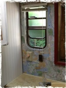 Before and after rv remodel rv interiors ideas for Rv bathroom wallpaper