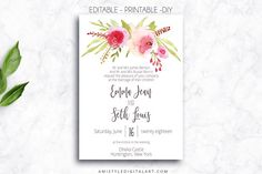 Wedding Invitation Template - Roses by Amistyle Digital Art on @creativemarket