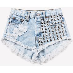 902 Acid Studded Dreamer Shorts ❤ liked on Polyvore featuring shorts, bottoms, short, pants, silver jean shorts, ripped shorts, denim cut-off shorts, short jean shorts and distressed denim shorts