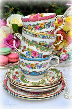 colourful vintage mismatched floral teacups