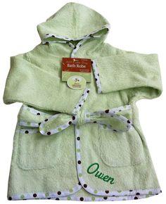PersonalizeMyBabyBlanket.com -  American Baby Organic 100% Cotton Terry Baby Bath Robe Celery Green - Personalized Embroidery, $28.99 (http://personalizemybabyblanket.com/american-baby-organic-100-cotton-terry-baby-bath-robe-celery-green-personalized-embroidery/)