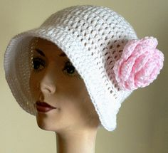 """Crochet for Cancer - Free Pattern ... Showing Love For Others One Stitch At A Time. Make a few and donate them, it's a very good thing. (I make mine without the flower. Also the """"hat"""" on the pattern page isn't a good photo of the pattern, that's why I posted this one.)"""