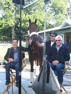 Victor Espinoza, Jimmy Barnes, Bob Baffert and American Pharoah getting ready for the Today show.