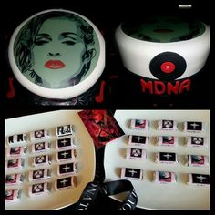 MDNA tv premier party. Madonna cake and chocolates.