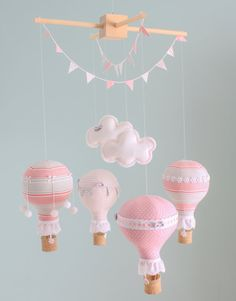 Pink and Grey Baby Mobile Hot Air Balloon by sunshineandvodka, $150.00