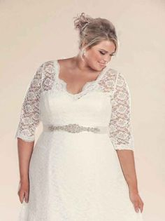 Plus size wedding dress with lace sleeves and sash