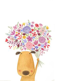 Dog with Flowers by Lucy Barnard