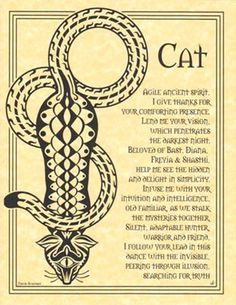Book of Shadows CAT Totem Poem Prayer Page Poster BOS by Travis Bowman Wicca