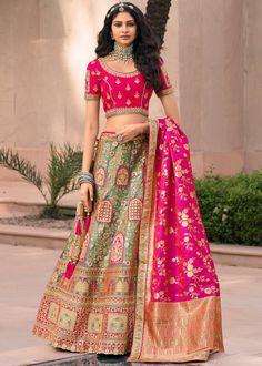 #green #woven #banarasi #silk #bridal #lehenga #choli #dupatta #designs # traditional #indian #outfits #gorgeous #wedding #look #ootd #new #arrival #womenswear #online #shopping Designer Bridal Lehenga, Bridal Lehenga Choli, Silk Lehenga, Silk Dupatta, Anarkali, Silk Fabric Online, Kids Collection, Choli Designs, Party Wear Lehenga