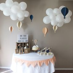 This Hot Air Balloon Party Package includes everything you need for your Custom colored Hot Air Ballon Party theme. Great for birthday parties and baby showers. Baby Shower Parties, Themes For Baby Showers, Baby Boy Shower, Cloud Baby Shower Theme, Baby Shower Balloon Decorations, Baby Theme, Baby Shower Balloons, Balloon Clouds, Themes For Birthday Parties