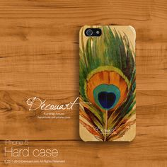 Peacock iphone 5 case, iPhone 5s case, iphone 5 cover, case for iPhone 5, peacock feather S206, christmas gift on Etsy, $21.99